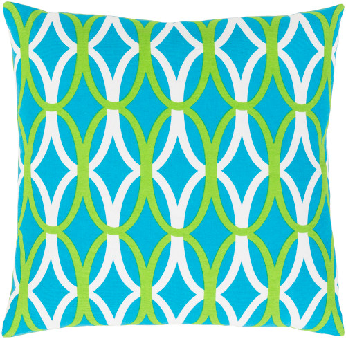 """20"""" Sky Blue and White Woven Square Throw Pillow - IMAGE 1"""