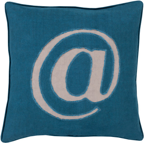 "22"" Teal Blue and Mist Gray Contemporary Square Throw Pillow - Down Filler - IMAGE 1"