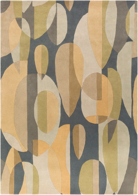 6' x 9' Falling Leaves Gray and Green Hand Tufted Kidney Wool Area Throw Rug - IMAGE 1