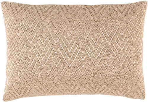 "19"" Khaki Brown Woven Rectangular Throw Pillow - Down Filler - IMAGE 1"