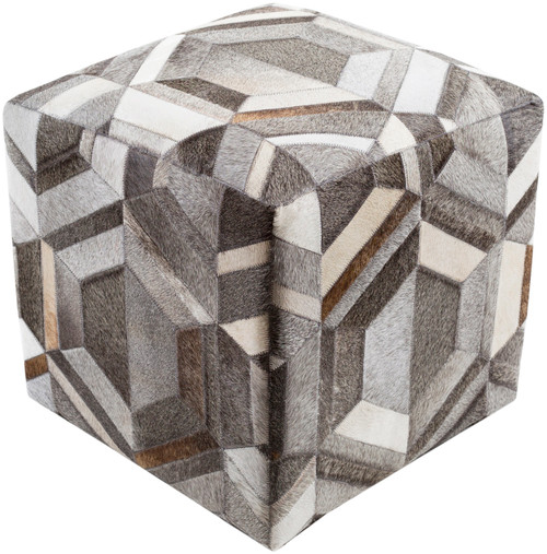 """18"""" White and Dark Brown Geometric Pattern Cubic Pouf Ottoman with Knife Edge - IMAGE 1"""
