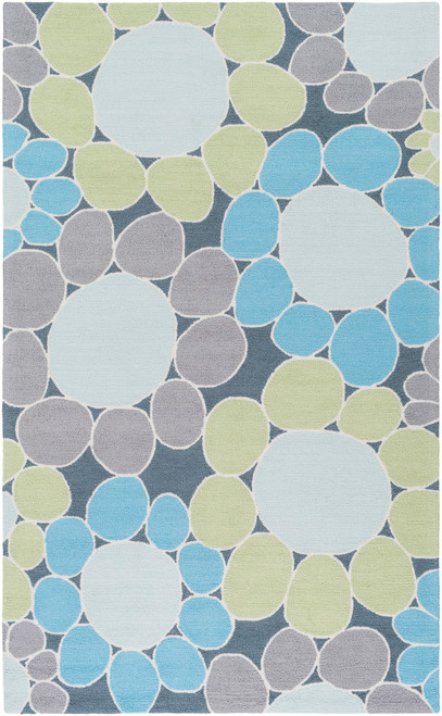 3' x 5' Flowering Pebbles Blue and Gray Hand Hooked Rectangular Area Throw Rug - IMAGE 1