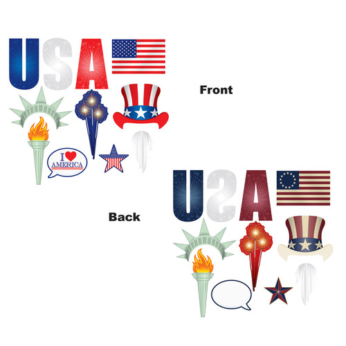 """Club Pack of 12 Blue USA Stars and Stripes Patriotic Digital Photo Fun Signs Decors 12.25"""" - IMAGE 1"""