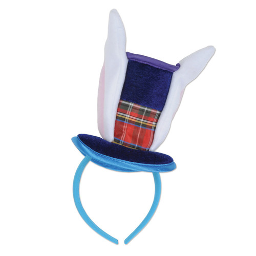 """Club Pack of 12 Blue and White Adult Men Plush Bunny Top Hat with Ears Headband 6.5"""" - IMAGE 1"""