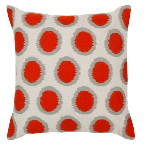 "20"" Blood Orange and Cream White Contemporary Square Throw Pillow - IMAGE 1"