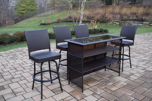 5-Piece Black Resin Wicker Outdoor Patio Bar Set - IMAGE 1