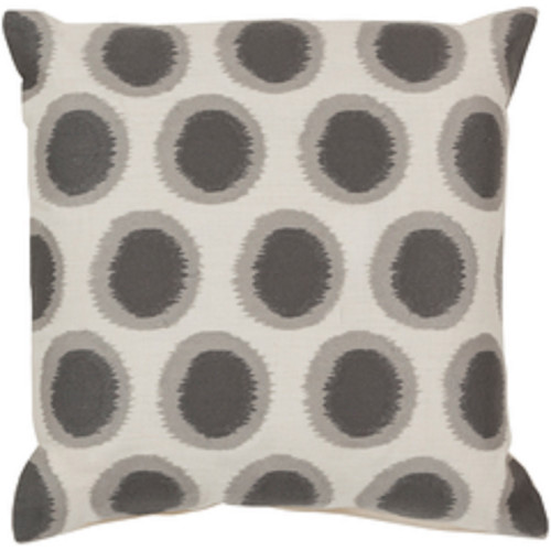 "20"" Cream White and Smoke Gray Contemporary Square Throw Pillow - IMAGE 1"