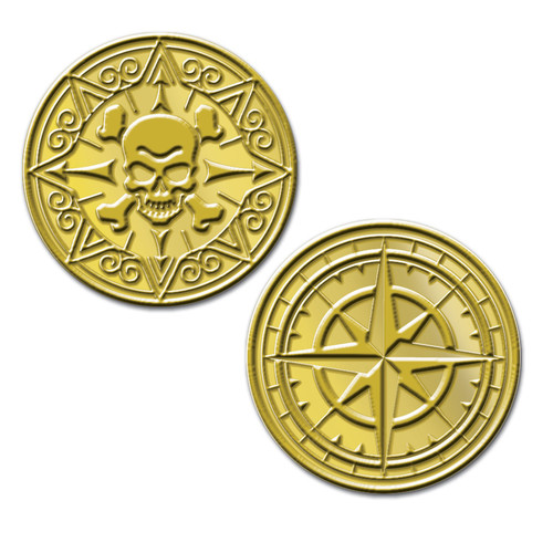"""Club Pack of 12 Gold Double Sided Molded Pirate Coin Favors Decors 1"""" - IMAGE 1"""
