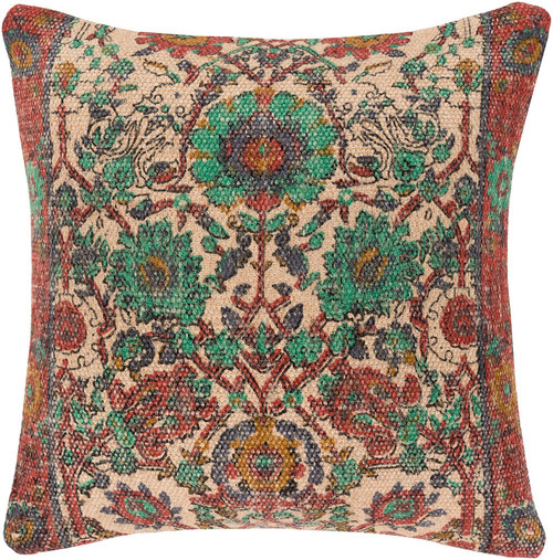 """22"""" Beige and Red Contemporary Square Throw Pillow - IMAGE 1"""