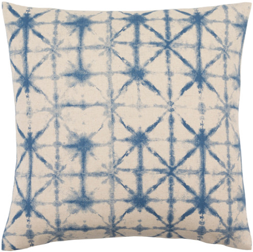 """22"""" Beige and Blue Contemporary Square Throw Pillow - IMAGE 1"""