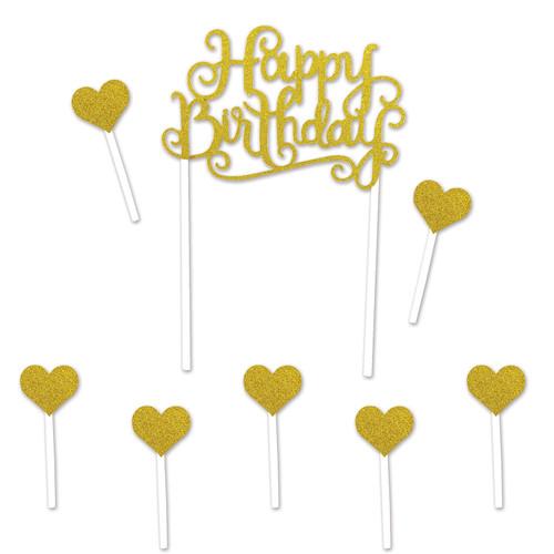 "Club Pack of 12 Gold Elegant Glittered Happy Birthday Cake Topper Decors 8.25"" - IMAGE 1"