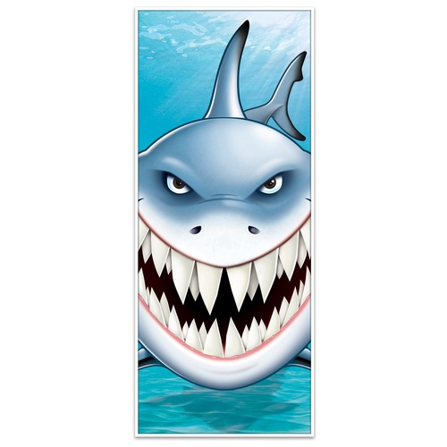 """Pack of 12 Blue and White Under the Sea Shark Door Covers 72"""" - IMAGE 1"""