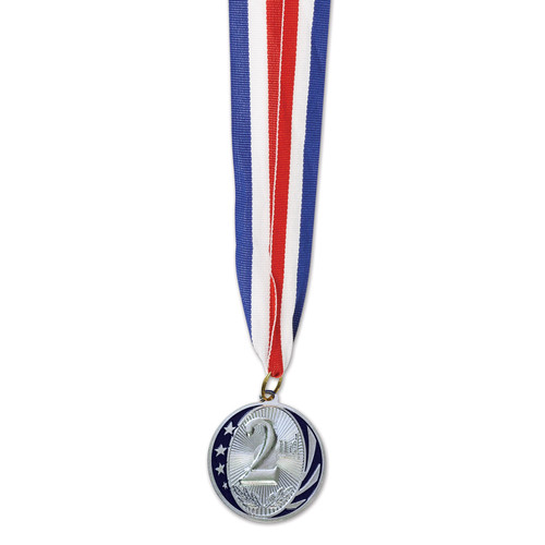 """Club Pack of 12 Silver and Red Second Place Medal with Ribbon Party Favors 32"""" - IMAGE 1"""