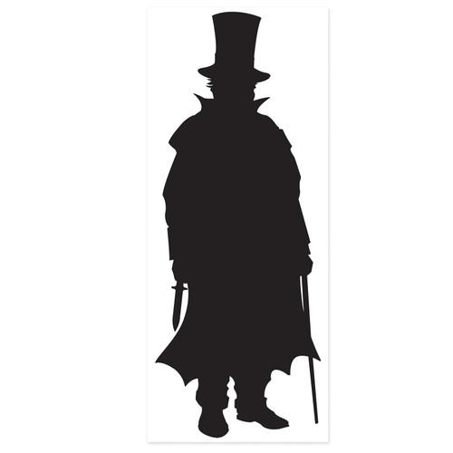 "Club Pack of 12 Black Sherlock Holmes Villain Silhouette Cutouts 30"" - IMAGE 1"