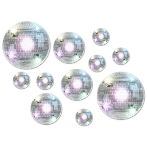 """Club Pack of 220 Silver Spherical Disco Ball Cutouts 12"""" - IMAGE 1"""