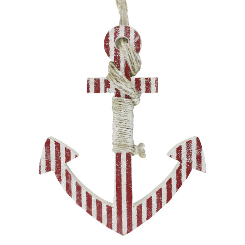 """16"""" Red and White Striped Nautical Hanging Anchor with Rope Wall Art - IMAGE 1"""