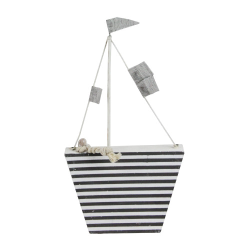 """8.75"""" Cape Cod Inspired White and Gray Striped Boat Table Top Decoration - IMAGE 1"""