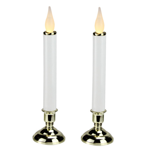 "Set of 2 Battery Operated White and Gold LED Christmas Candle Lamps with Base 9.75"" - IMAGE 1"