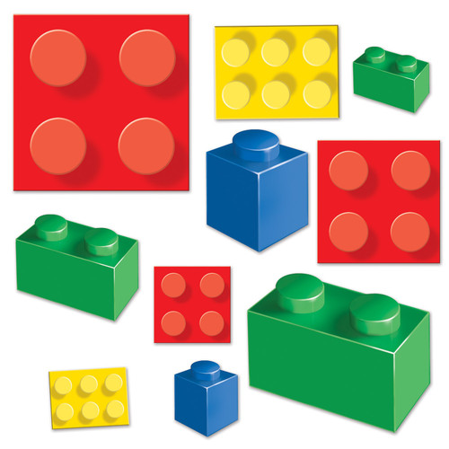 """Club Pack of 240 Multi-Color Building Block Cutouts 11.25"""" - IMAGE 1"""