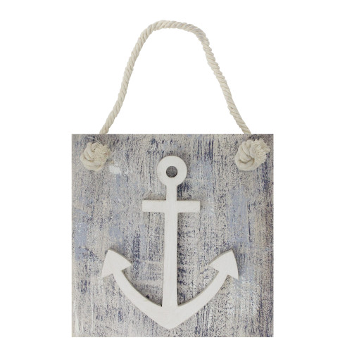 """7.25"""" Blue and White Cape Cod Inspired Anchor Wall Hanging Plaque - IMAGE 1"""