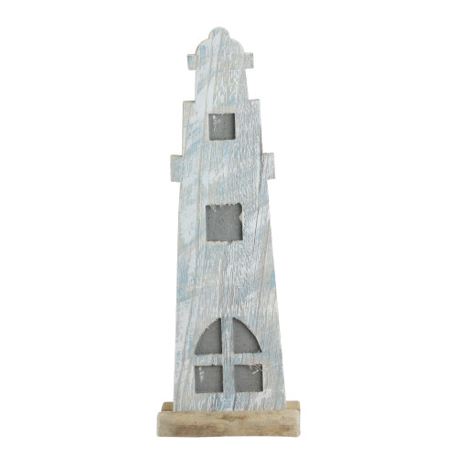 """19"""" Distressed Finished White and Blue Nautical Lighthouse Tabletop Decoration - IMAGE 1"""
