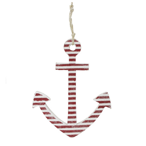 """15.75"""" Red and White Striped Nautical Anchor with Hanging Rope Wall Art - IMAGE 1"""