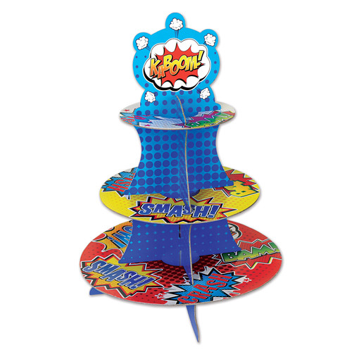 """Club Pack of 12 Blue and Red Hero Cupcake Stand Centerpieces 16"""" - IMAGE 1"""