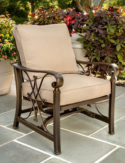 """Set of 4 Beige and Brown Contemporary Outdoor Patio Rocking Chairs 36"""" - IMAGE 1"""