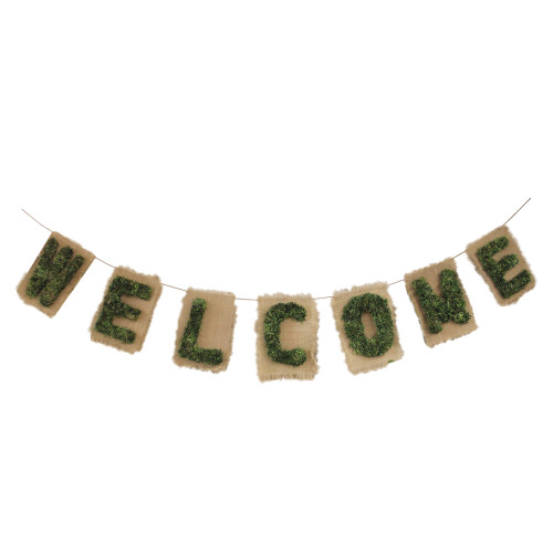 """6' Brown and Green """"Welcome"""" Hanging Wall Decor - IMAGE 1"""