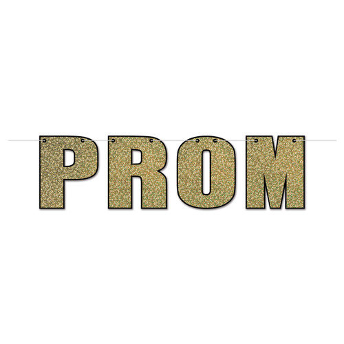 """Club Pack of 12 Gold and Black Ready for Prom Night Shimmering Streamers Wall Decors 72"""" - IMAGE 1"""