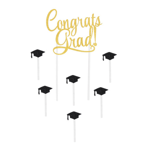 """Club Pack of 12 Gold and Black Contemporary Congrats Grad Cake Topper Sets Decors 8.5"""" - IMAGE 1"""