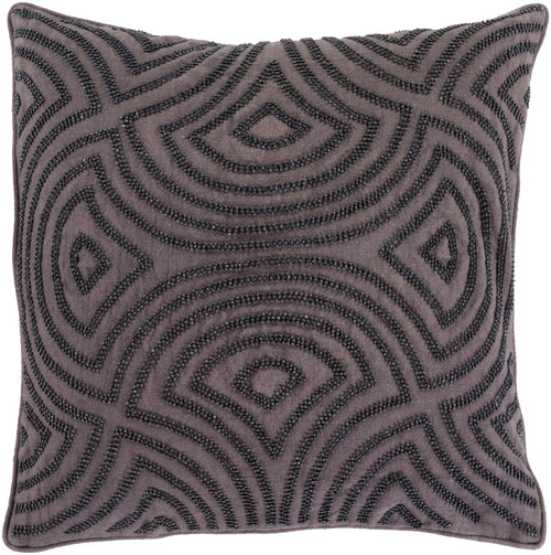 """22"""" Charcoal Black Contemporary Geometric Square Throw Pillow - IMAGE 1"""