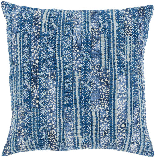 """20"""" Blue and White Floral Square Throw Pillow - Down Filler - IMAGE 1"""