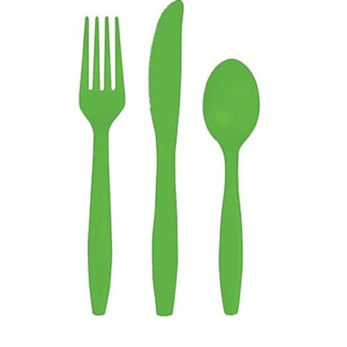 Club Pack of 216 Lime Green Heavy-Duty Plastic Party Knives, Forks and Spoons - IMAGE 1