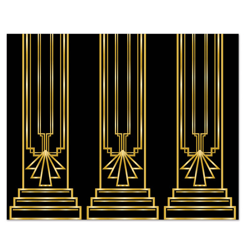 Pack of 6 Black and Gold Art Deco Backdrop Wall Decor 30' - IMAGE 1