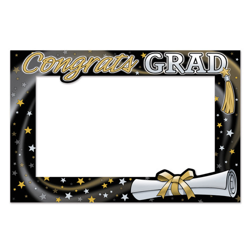 """Club Pack of 12 Gold and Black Graduation Photo Fun Frame Wall Decor 23.5"""" - IMAGE 1"""