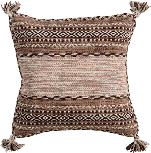 """18"""" Brown and White Square Throw Pillow with Knotted Corner Fringes  - Down Filler - IMAGE 1"""