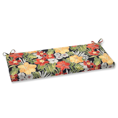 """45"""" Red and Black Floral Outdoor Patio Bench Cushion - IMAGE 1"""