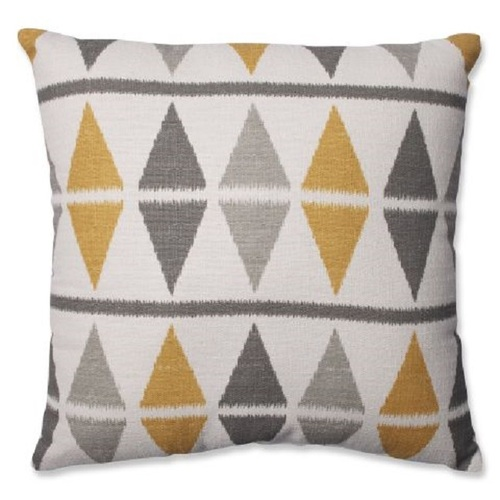 """16.5"""" Gray and White Geometric Square Throw Pillow - IMAGE 1"""