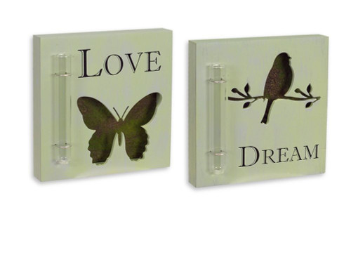"""Pack of 4 Spring Mossy Butterfly and Bird Cut-Out Plaques with Tube Vase 7.75"""" - IMAGE 1"""