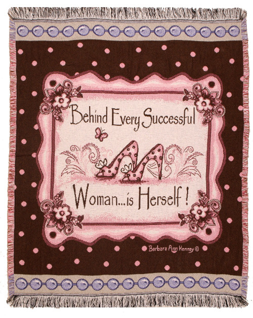 """Behind Every Successful Woman...is Herself Fringed Afghan Throw Blanket 60 x 50"""" - IMAGE 1"""