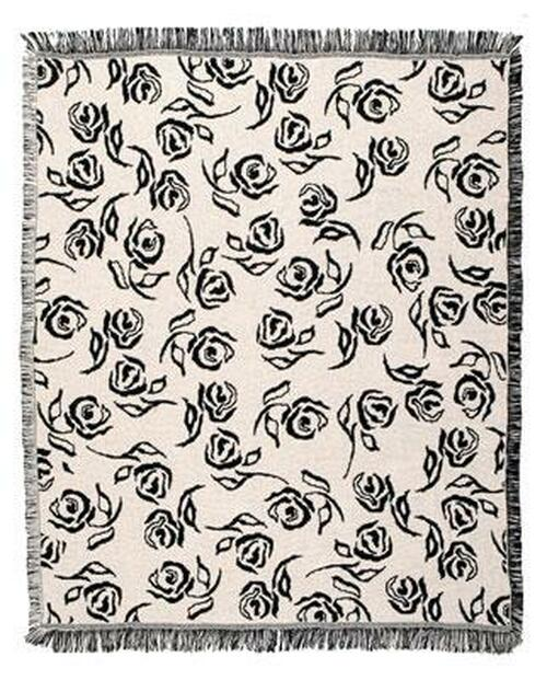 """Avacado Green and White Rose Afghan Throw Blanket 50"""" x 60"""" - IMAGE 1"""