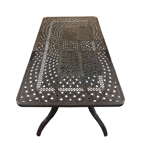 """126"""" Black Contemporary Outdoor Patio Extendable Dining Table - IMAGE 1"""