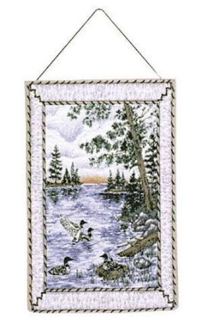 """Loons Ducks Water Birds Wall Hanging Tapestry 17"""" x 26"""" - IMAGE 1"""