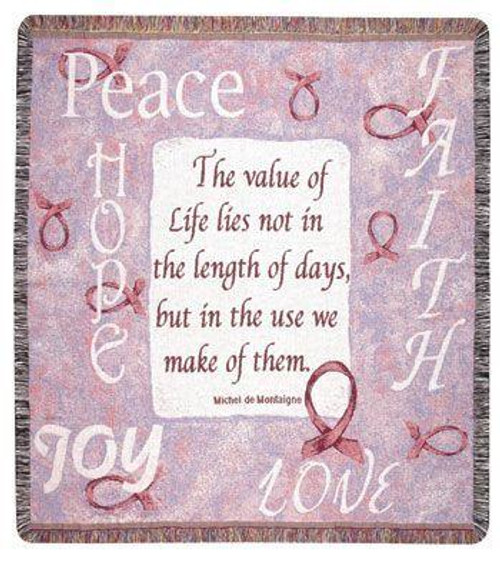 """60"""" Peace Hope Love Joy Value of Life Tapestry Throw Blanket - IMAGE 1"""
