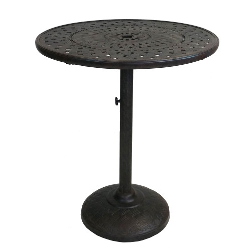 """40.75"""" Black and Brown Round Ornate Outdoor Patio Furniture Bar Table - IMAGE 1"""