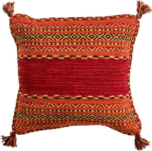 """18"""" Red and Orange Square Throw Pillow with Knotted Corner Fringes - Down Filler - IMAGE 1"""