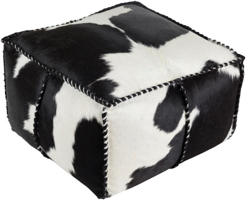 """22"""" Black and White Leather Knife Edge Square Pouf Ottoman with Coordinating Trim - IMAGE 1"""