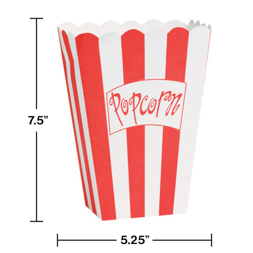 """Club Pack of 96 Large Red and White Striped Reel Hollywood """"Popcorn"""" Boxes 7.5"""" - IMAGE 1"""