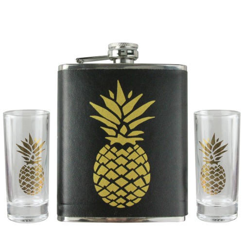 3-Piece Black and Metallic Gold Tropical Pineapple Flask and Shot Glass Set - IMAGE 1